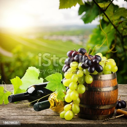 619246768 istock photo Bottles of red and white wine with fresh grape 186298051