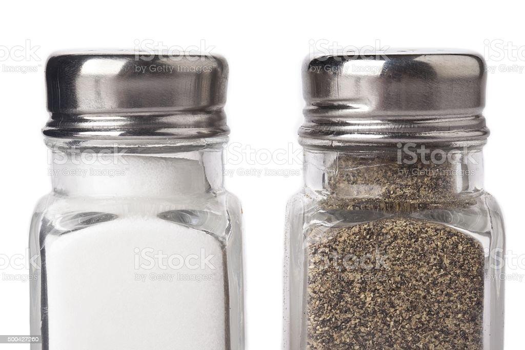bottles of salt and pepper stock photo
