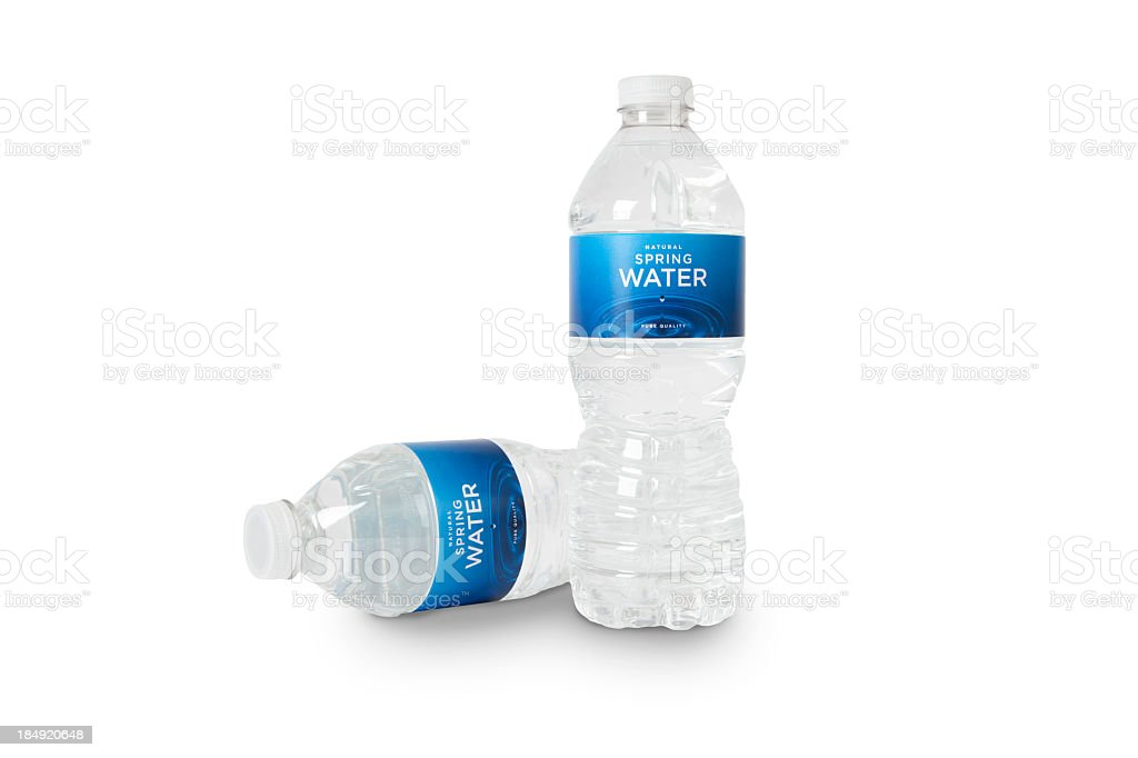 Bottles of Spring Water (fictitious) + Clipping Paths royalty-free stock photo