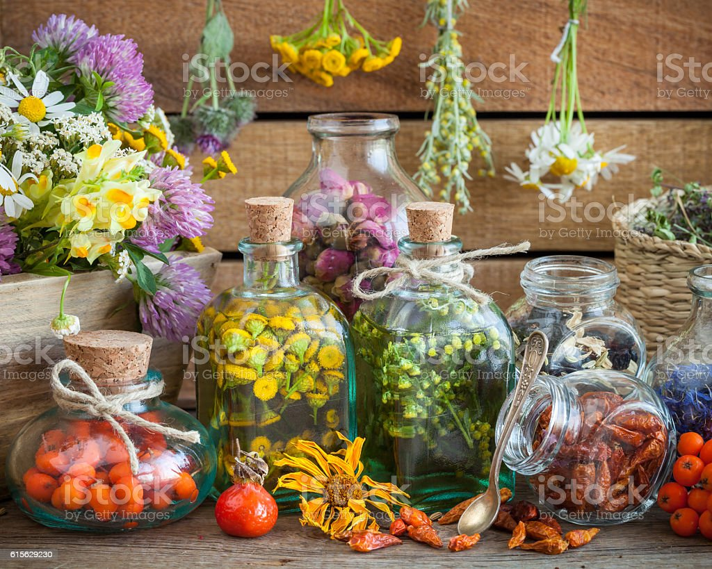 Bottles of tincture and healthy herbs and healing herbs. stock photo