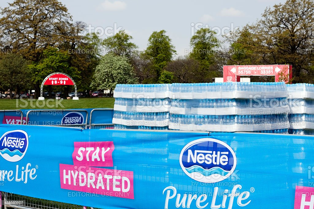 Bottles of water for London Marathon royalty-free stock photo
