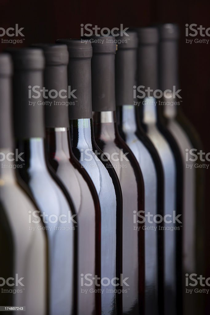 Bottles of WIne in a Row royalty-free stock photo