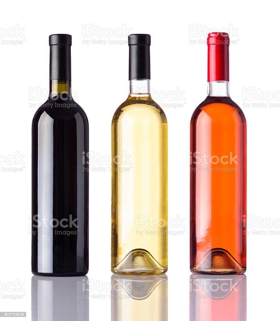 Bottles of Wine Isolated on White Background - foto de stock