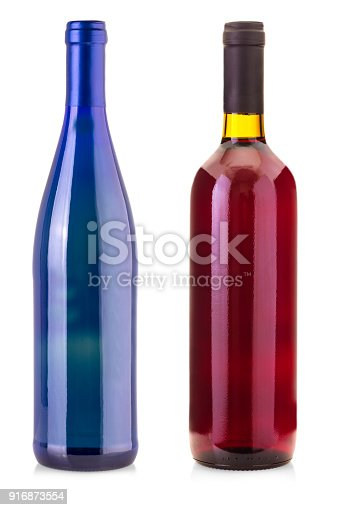 istock bottles of wine  isolated on white background. 916873554