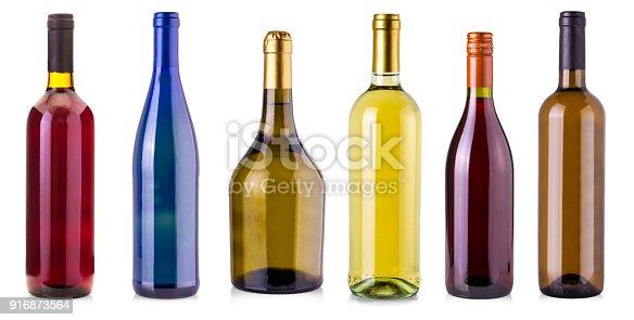 istock bottles of wine  isolated on white background. 916873564