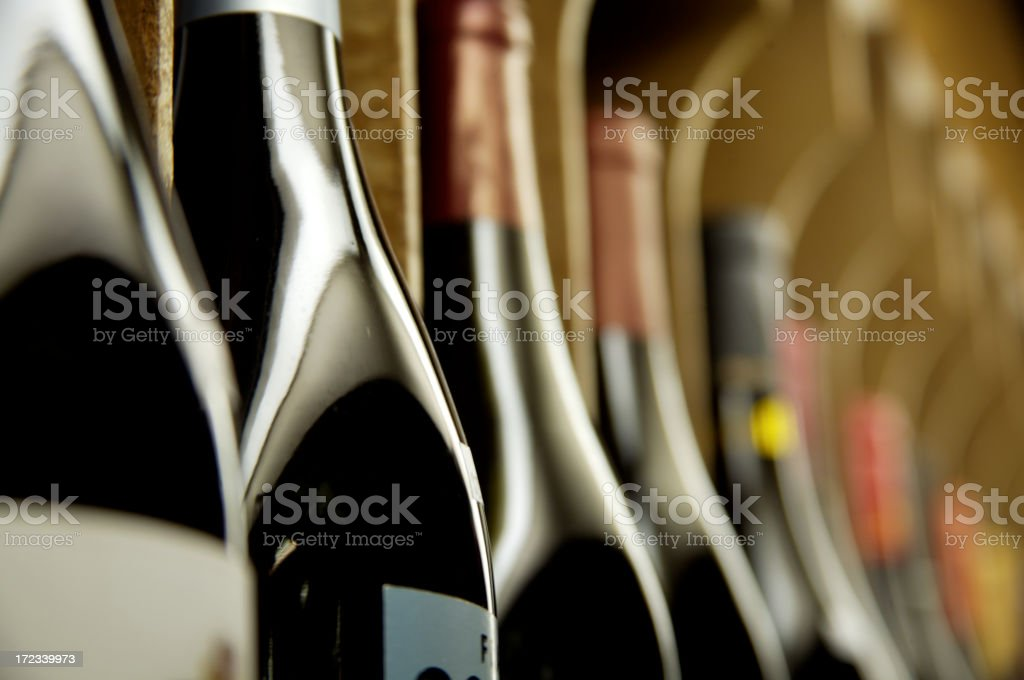 Bottles of wine on display royalty-free stock photo
