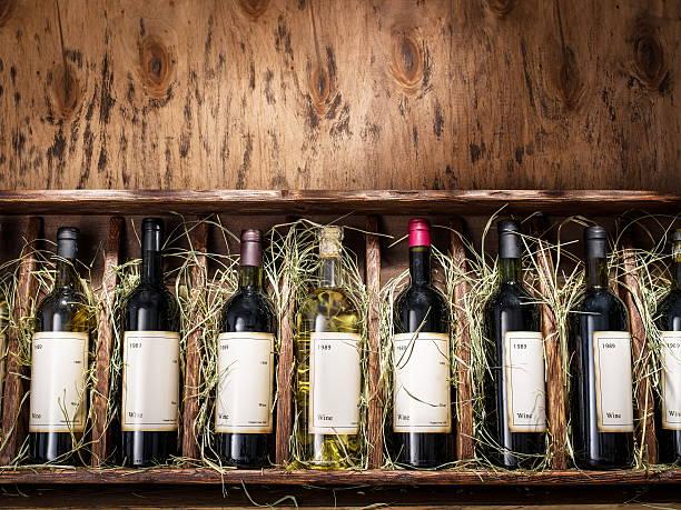 bottles of wine. - wine box bildbanksfoton och bilder