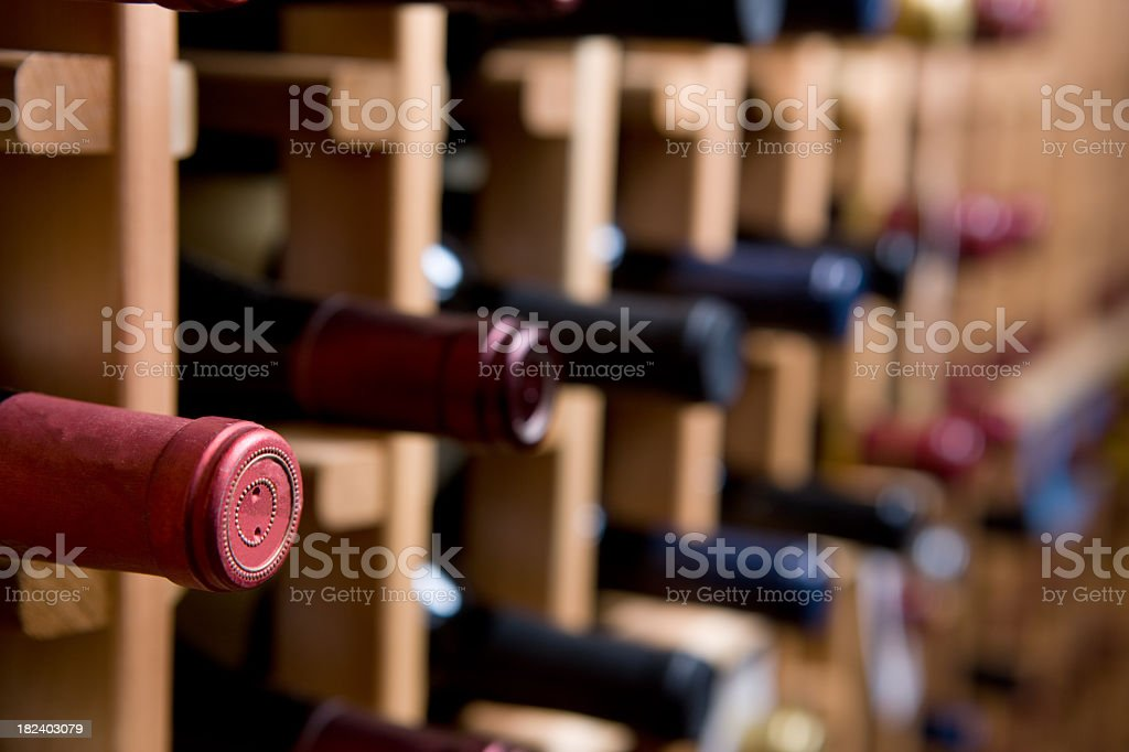 Bottles of wine stirred on a wine rack  stock photo