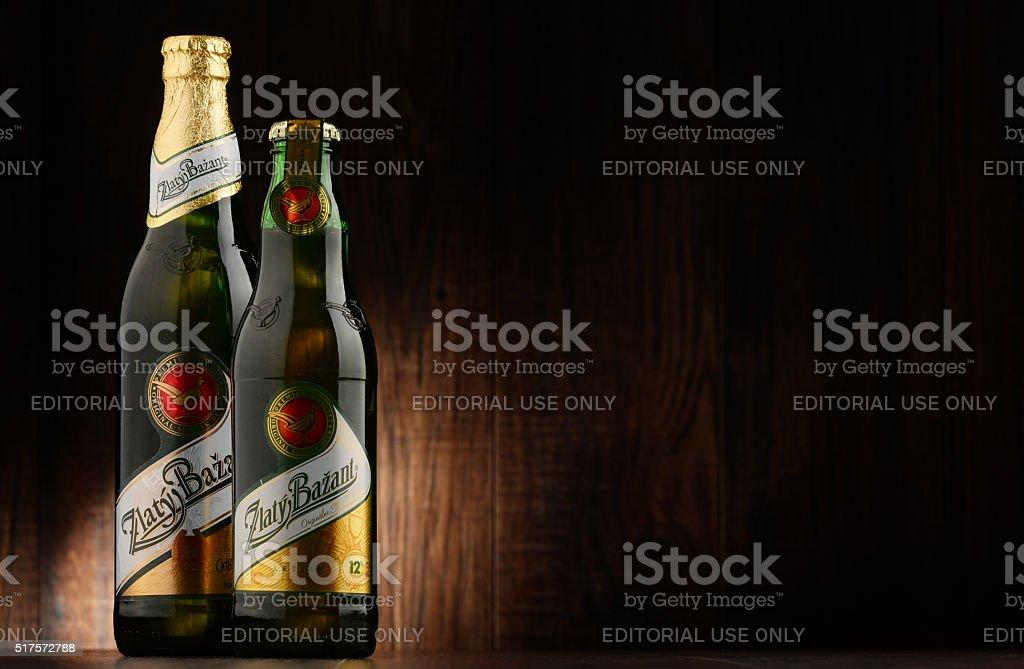 Bottles of Zlaty Bazant beer