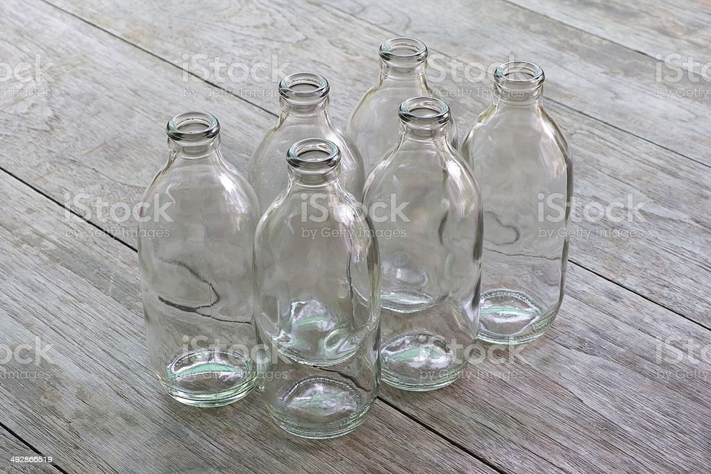 Bottles on wood table royalty-free stock photo