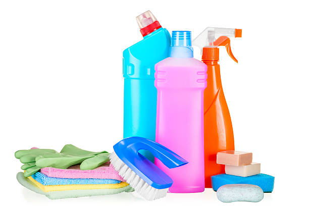 Bottles With Cleaning Agents For Cleaning The House Closeup