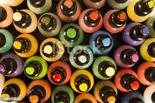 istock Bottles with color paints in plastic bottles 1038606060