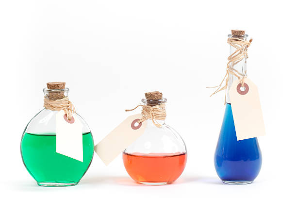 Bottles with Colorful Liquid stock photo