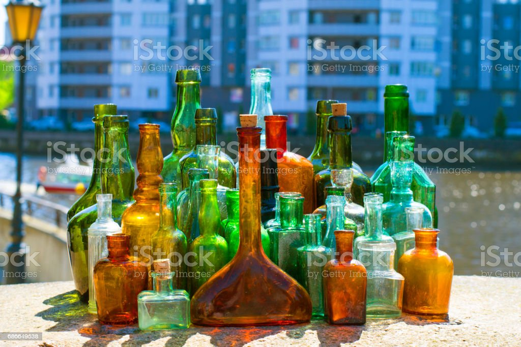 Bottles with different colors royalty-free stock photo