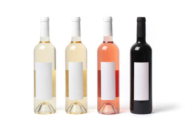 Bottles with Different Kinds of Wine stock photo
