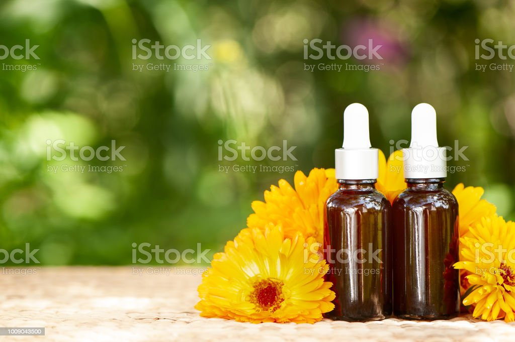 Garrafas com óleo de calêndula flor na natureza backgraund, bio, orgânico, natureza cosméticos conceito, com espaço de cópia - foto de acervo