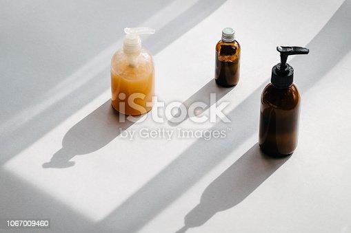 istock Bottles with organic cosmetics overhead 1067009460