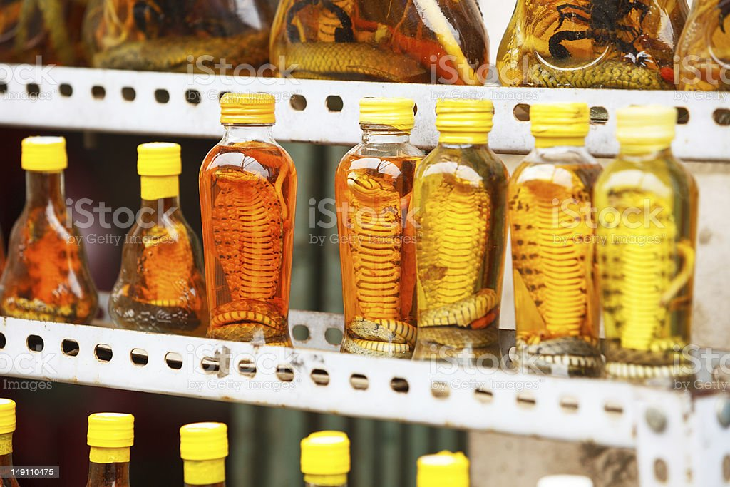 Bottles with snakes and scorpions foto