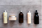 istock Bottles with spa cosmetic products flat lay 1023635332