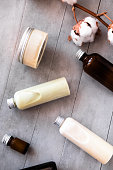 istock Bottles with spa cosmetic products flatlay 1014979466