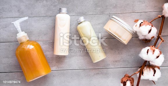istock Bottles with spa cosmetic products flatlay 1014979474