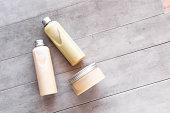 istock Bottles with spa cosmetic products flatlay 1042453738