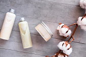 istock Bottles with spa cosmetic products flatlay 1048856050