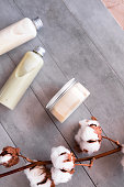 istock Bottles with spa cosmetic products flatlay 981159476