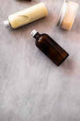 istock Bottles with spa cosmetic products flatlay 981159488