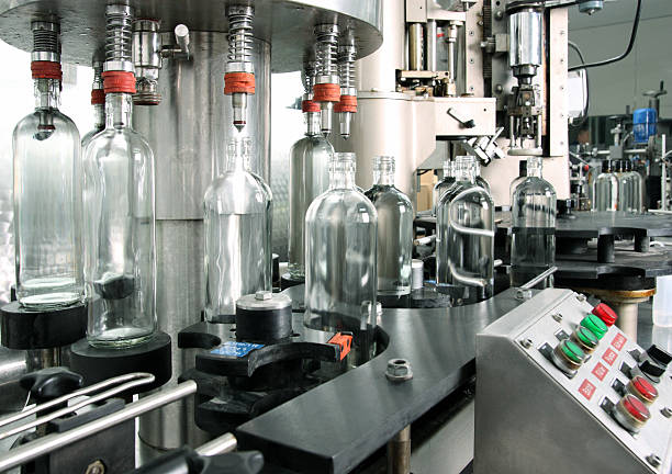 Bottling plant detail. stock photo