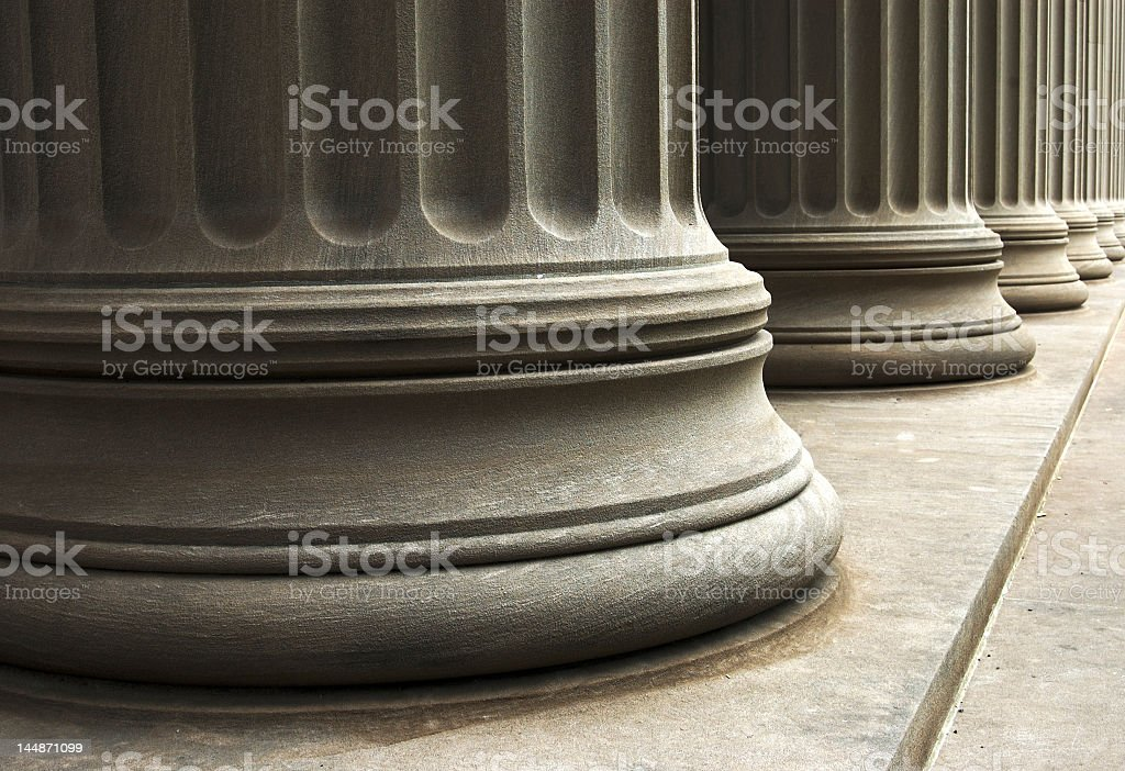 Bottom side of classic marble columns stock photo