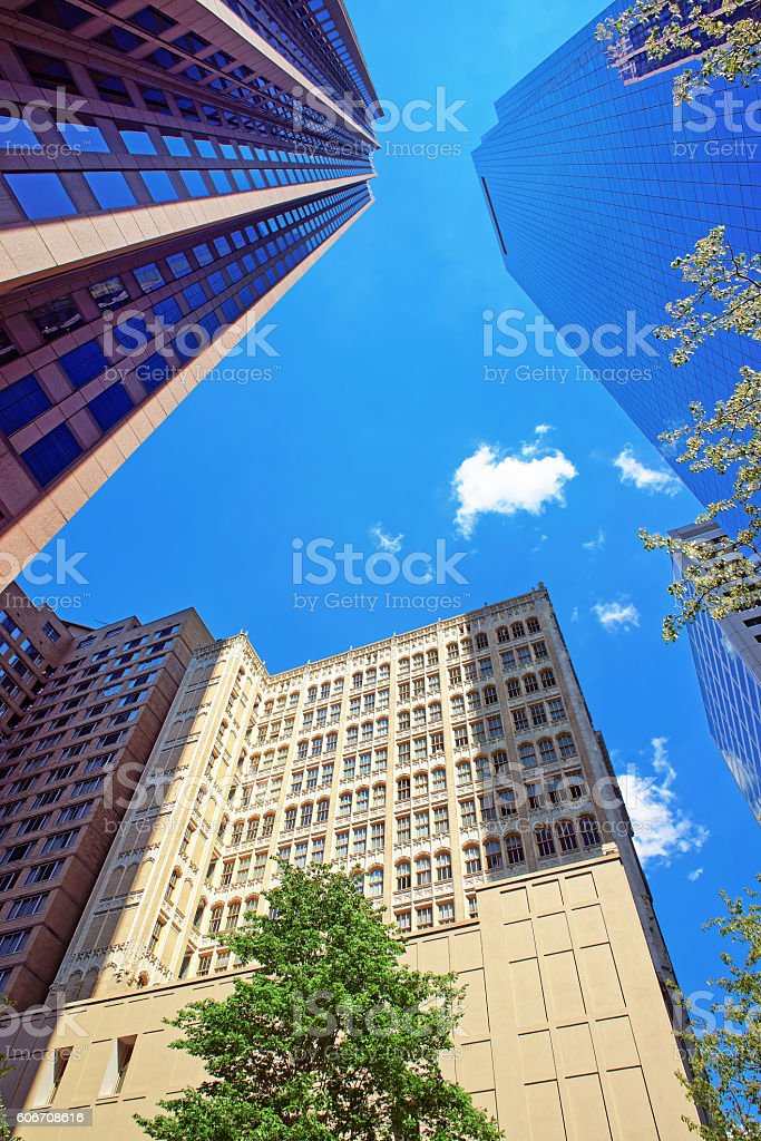 Bottom up view of skyscrapers mirrored in glass in Philadelphia stock photo