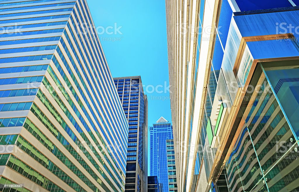 Bottom up view of skyscrapers reflected in glass in Philadelphia stock photo