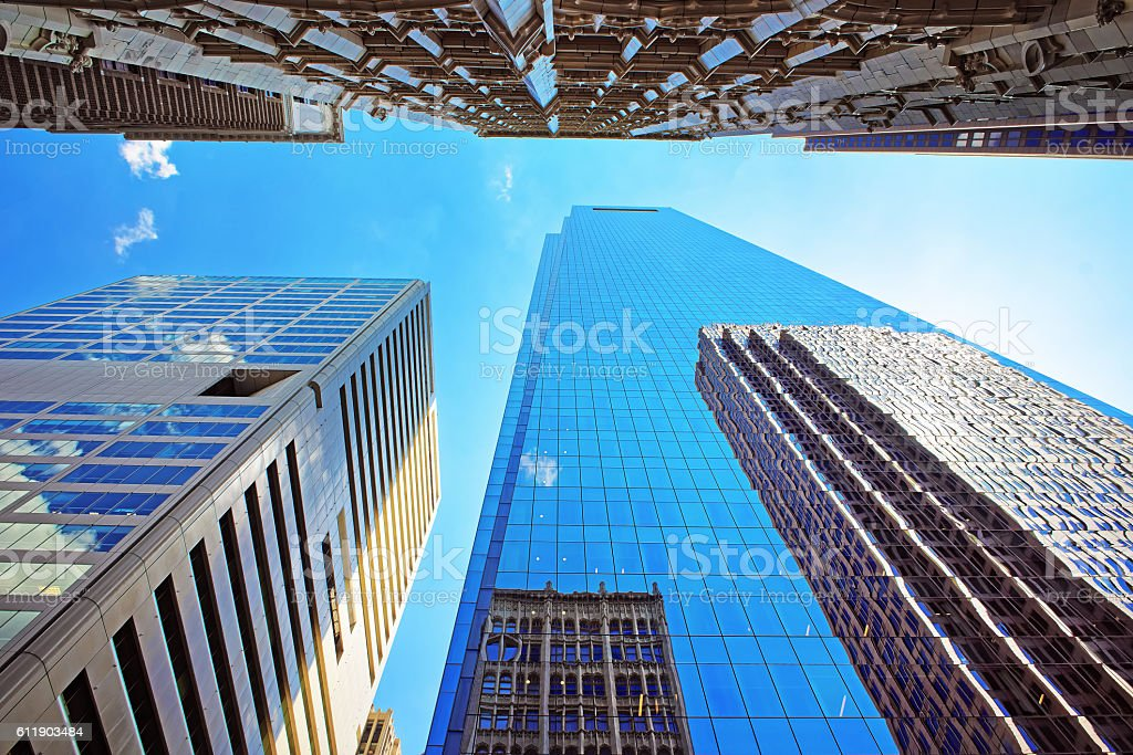 Bottom up view on skyscrapers mirrored in glass in Philadelphia stock photo