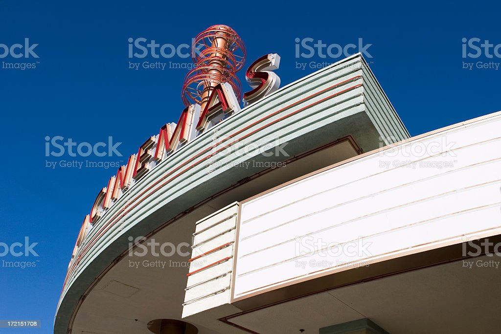 A bottom view of a movie marquee stock photo