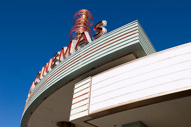 A bottom view of a movie marquee Movie Marquee at a Movie Theater. Fill your own double feature or now showing statement. theater marquee commercial sign stock pictures, royalty-free photos & images