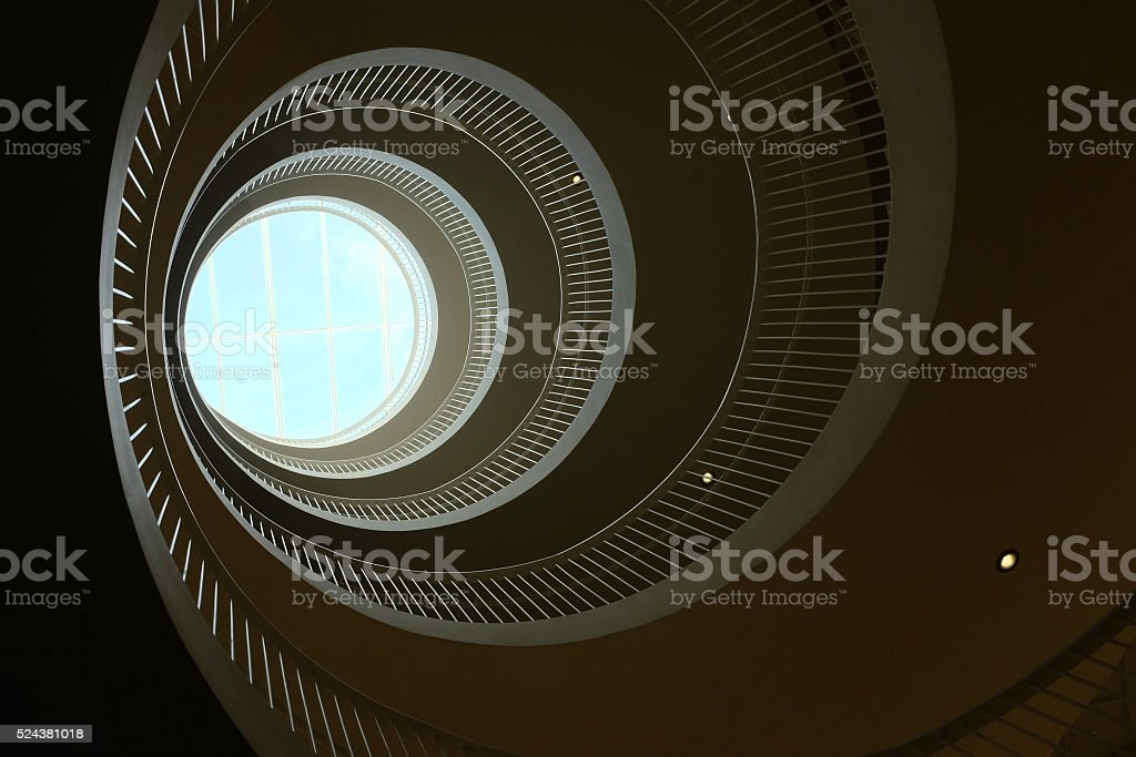 bottom view of a spiral staircase stock photo