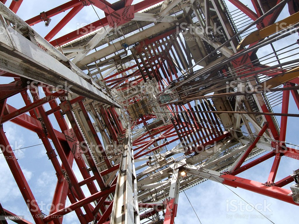 Bottom view of an oil rig derrick royalty-free stock photo