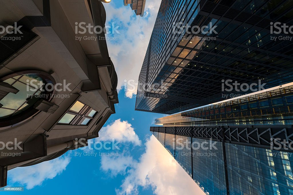 Bottom view of building exterior in city of London royalty-free stock photo
