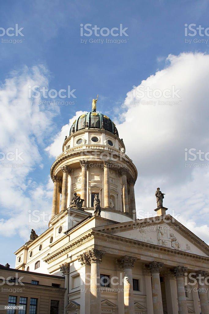 Bottom view of French Cathedral in Berlin royaltyfri bildbanksbilder