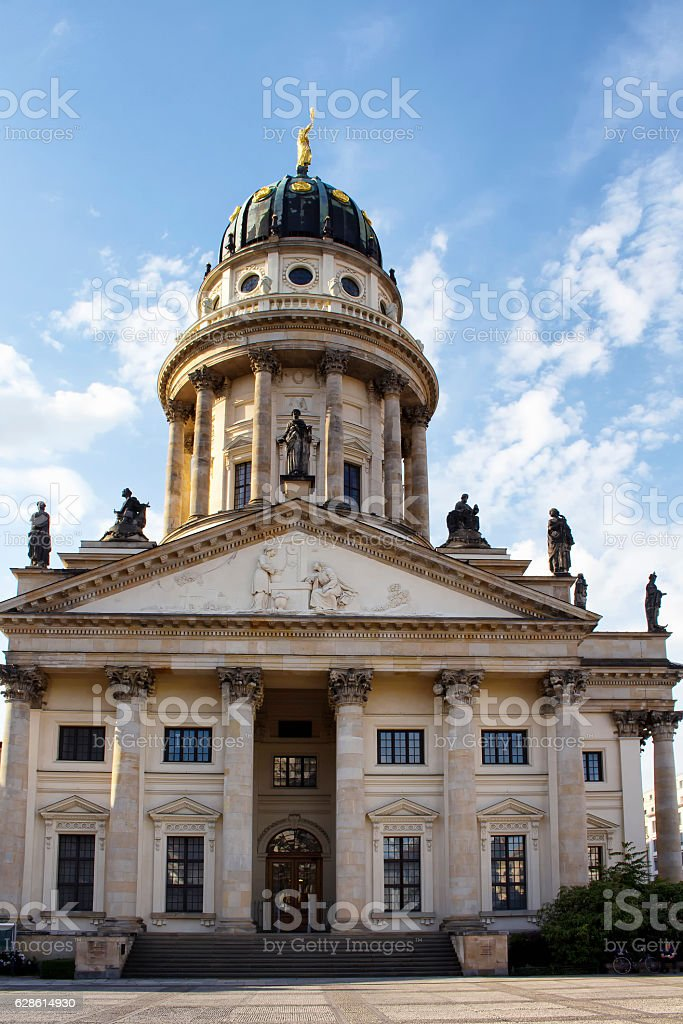 Bottom view of French Cathedral in Berlin. stock photo