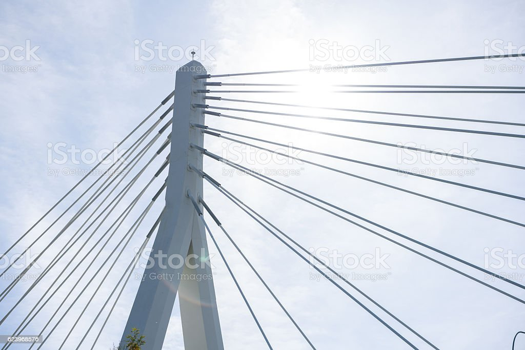 Bottom view of modern bridge arch detail stock photo