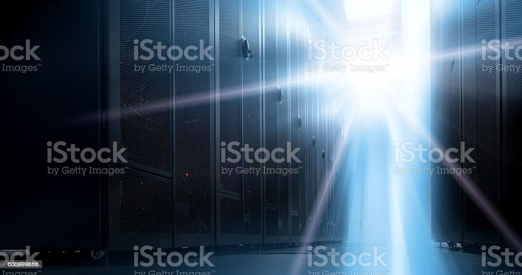 Bottom view of rack server against neon light stock photo