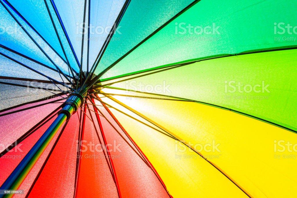 Unteransicht des Regenbogen Regenschirm Textur Hintergrund. – Foto