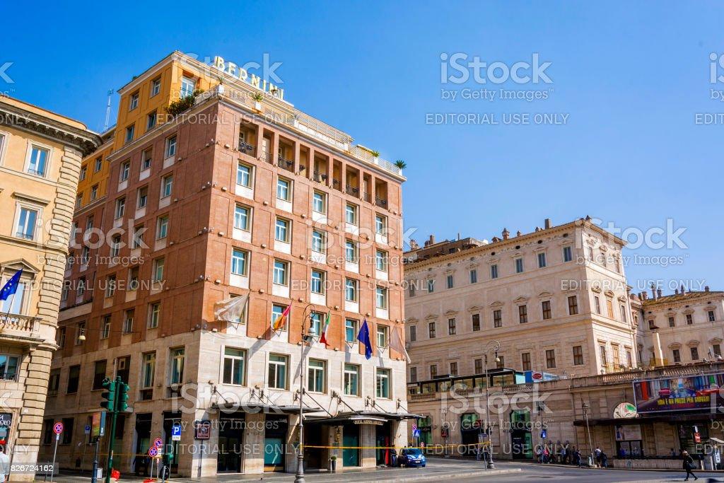 Bottom view of the Bernini Bristol Hotel in Rome stock photo