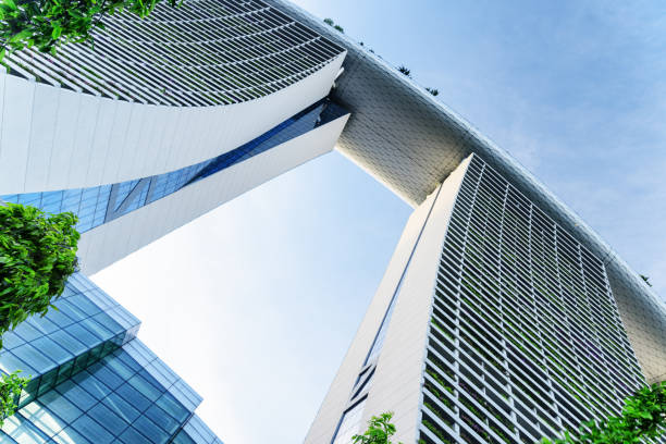 bottom view of the famous marina bay sands hotel, singapore - marina bay sands stock photos and pictures