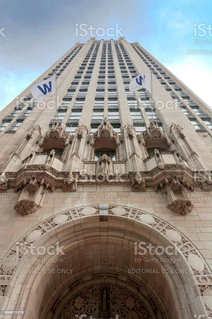 Bottom view of the Tribune Tower in Chicago stock photo