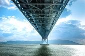 下部ビュー構造吊り橋、瀬戸内海を淡路島から神戸市明石海峡の橋の下で