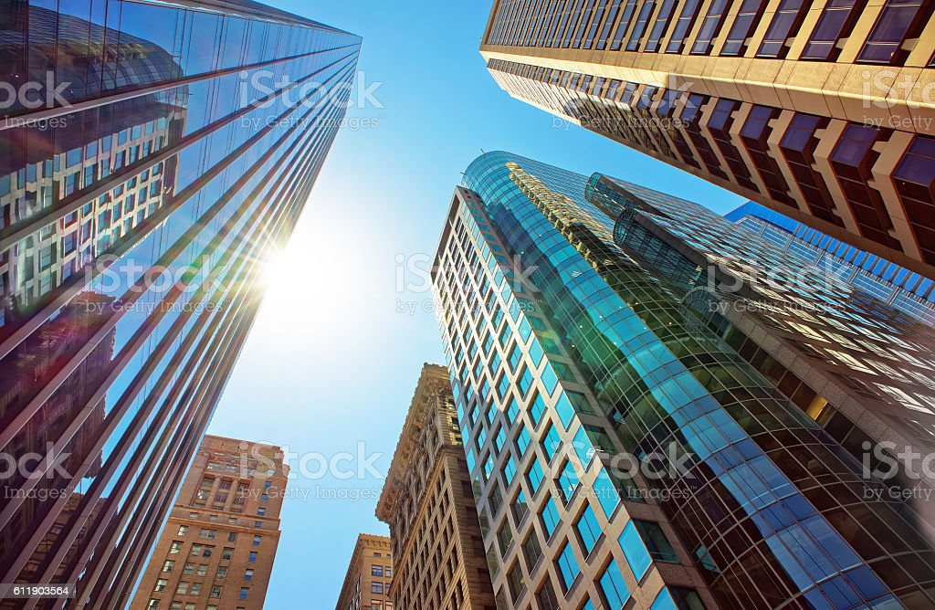 Bottom-up view of skyscrapers mirrored in glass in Philadelphia stock photo