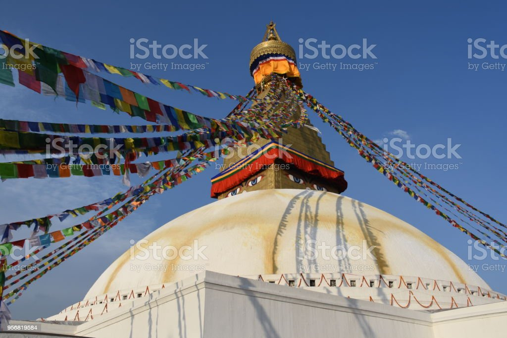 Bouddha Stupa in the evening sun, Kathmandu, Nepal stock photo